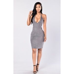"Grey Suede ""Snack"" tie back Bodycon Dress Sz M"