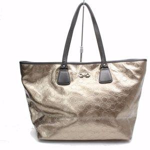 Metallic Gancini Logo Quilted 86506 Gold Tote Bag