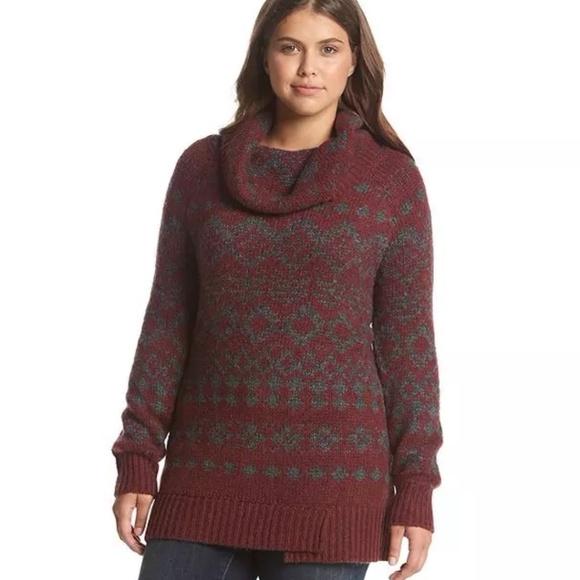 best prices choose best cheap price Ruff Hewn® Plus Size Fairisle Yoke Tunic Red NWT