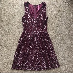 Silver and burgundy dress NEVER WORN!!!!