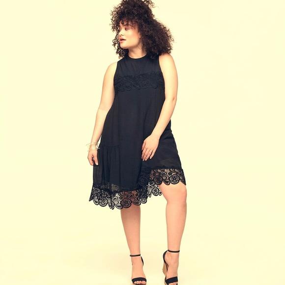11b1c6135574 Plus Size Black Dress Loralette w  Crochet Hem 2X