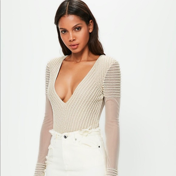 Missguided peace + love nude embellished bodysuit.  M 5a1d57c5bcd4a784cb10d3d0 f7b235b64
