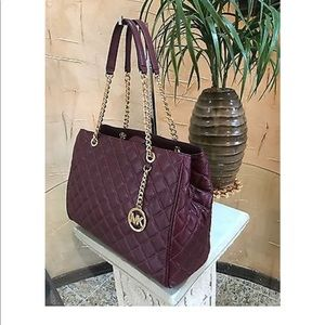 71b7acc6d7eb Michael Kors Bags   Mk Susannah Quilted Merlot Leather Large Tote ...