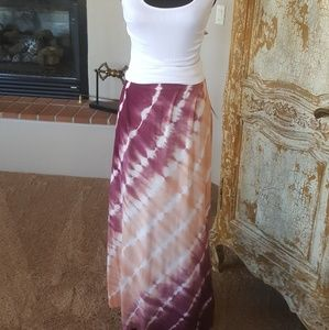 Purple / Peach Tie Dye Maxi Skirt New with Tags