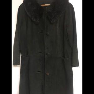 Vintage black suede coat with fur collar.