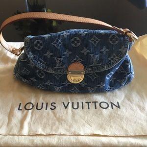 Auth Louis Vuitton Denim mini bag