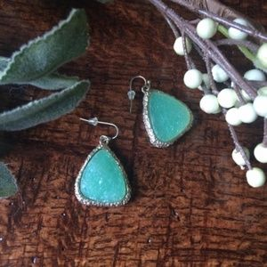 Druzy stone gold and turquoise drop earrings