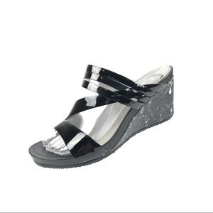 Abeo Lexi Black patent leather wedge sandals 7 N