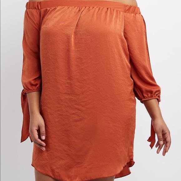 Plus Size Satin Off Shoulder Shift Dress NWT