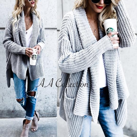 Sweaters - sweater cardigan drape shawl front long sleeves
