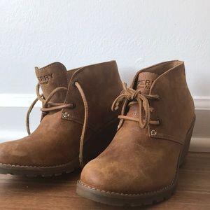 Sperry wedge booties never worn!!!!!