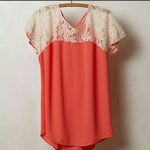 Anthropologie Maeve Penumbra Lace Top