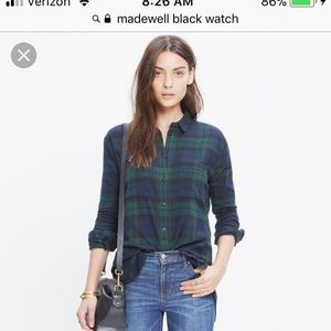 ISO madewell black watch flannel size s