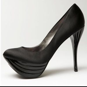 Bebe black satin pumps