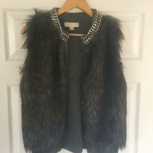 MICHAEL Michael Kors Dark Grey Faux Fur Vest