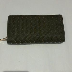 Handbags - Hunter Green Woven Leather Wallet