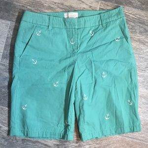 J. Crew Bermuda Shorts Green White Anchors SZ 0