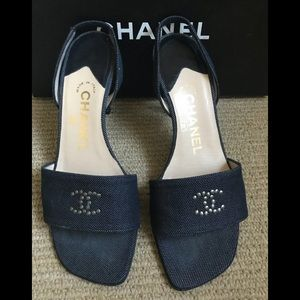 CHANEL dark blue denim stiletto sandals size 35.5