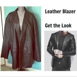 Men's Vintage Leather Jacket Coat Blazer 3X XXXL