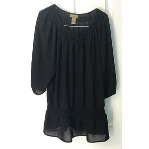 Sheer Peasant Style Blouse Top XL 16 18 Black