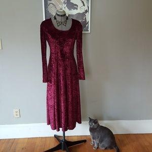 Women's Size 8 Dark Red Long Velour 90s Dress
