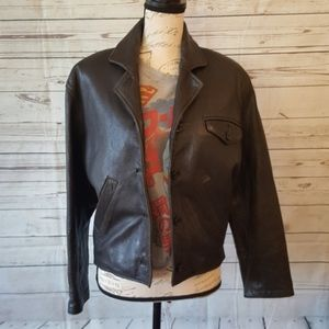 Vintage genuine black leather bomber jacket