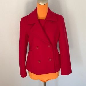 Theory Bright Red Pinata Double Breasted Wool Coat