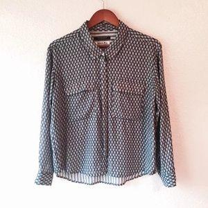 Maison Scotch chambray blue arrows shirt Top EUC 1
