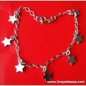 Jewelry - 18k white gold layer on Solid 925   Stars Bracelet