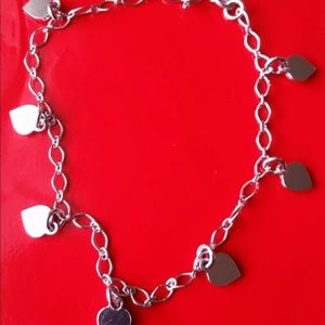 Jewelry - 18k white gold layer on Solid 925  Heart  bracelet