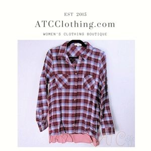 Burgundy and Blue Rustic Plaid Shirt with Contrast