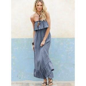 Moda International chambray strapless maxi dress