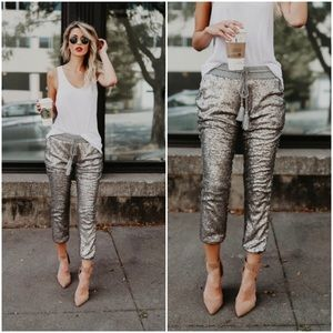 🆕TWO LEFT Silver Sequin Jogger Pants