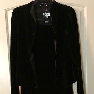 Velour Black Jacket with Long Black Skirt