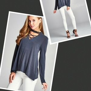Caged front mock neck blouse