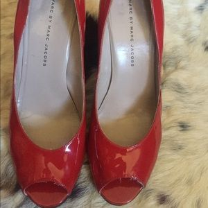 Marc by Marc Jacobs Christmas Red Peep Toe Pumps