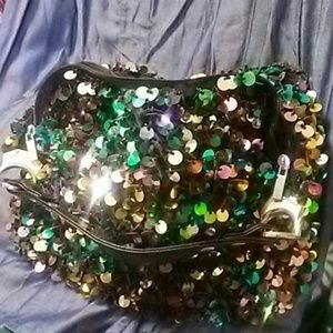 Handbags - Sequined and Beaded Shoulder Bag