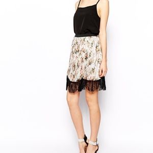 ASOS floral pleated skirt with black lace hem