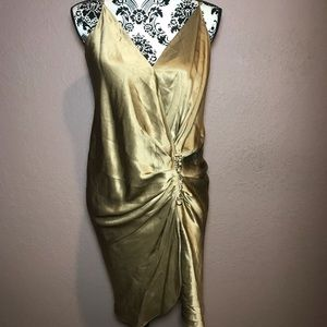 Faith connexion gold silk party dress XL