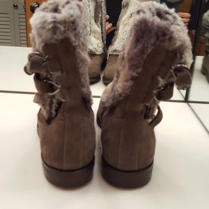 JOHNSON AND MURPHY Shoes - JOHNSON & MURPHY TAUPE SUEDE FUR SIDE ZIP BOOTIES