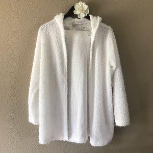 White Fuzzy Hooded Cardigan S from ! tara's closet on Poshmark