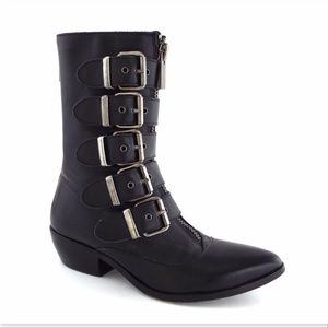 DOLCE VITA Black Leather Buckle Back Zip Boots 6