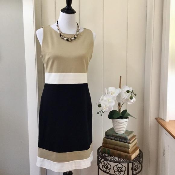820b53ce2595 VINCE CAMUTO Tan   Black Color Block Dress. M 5a1db1c94e8d17ad9211ed32