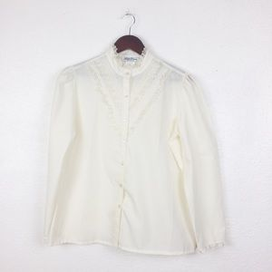 Vintage Tops - Vintage Lucky Winner Victorian White Blouse
