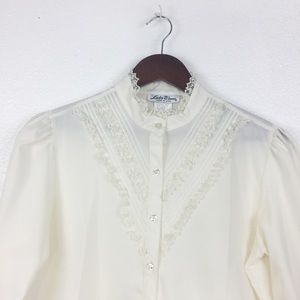 Vintage Lucky Winner Victorian White Blouse