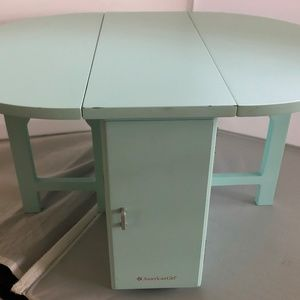 American girl folding kitchen table bakers table