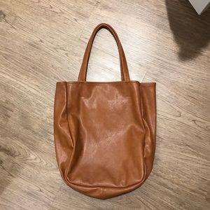 Tan faux leather tote bag purse beige