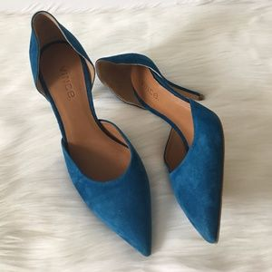 "Women's Vince ""Celeste"" Blue Suede Heel Shoes NWOT"