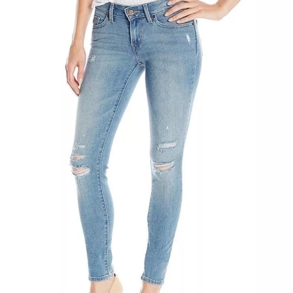 Levi's 711 distressed skinny jeans mid rise