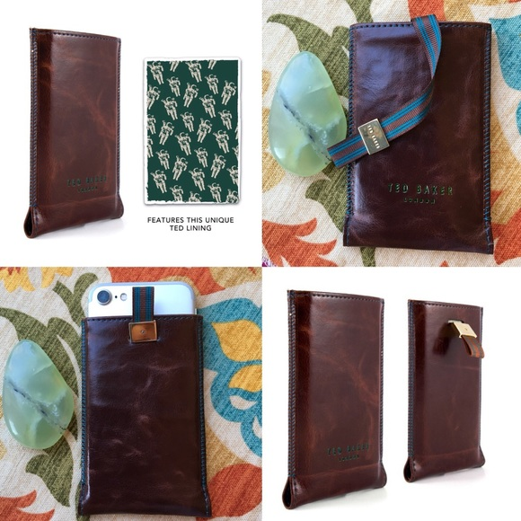 141b342fa Brown Leather Spaceman iPhone Case Pouch NWB. NWT. Ted Baker